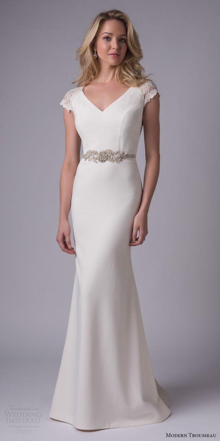 modern trousseau bridal fall 2017 lace cap sleeves vneck sheath wedding dress (jacqueline) mv beaded waist illusion back