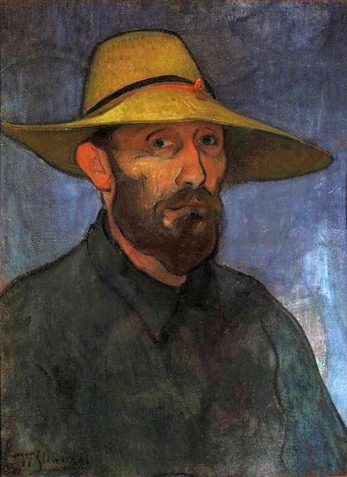 WLADYSLAW SLEWINSKI (1856-1918)  Self-Portrait in a Straw Hat (c.1894)