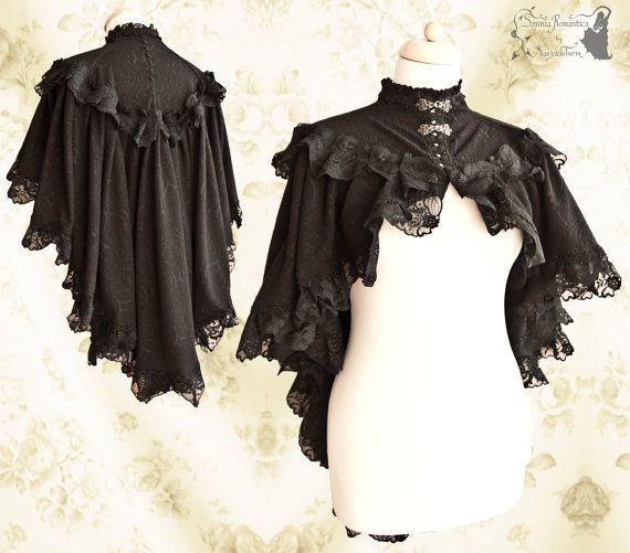 Capelet Victorian, romantic goth cloak, steampunk, black lace, shrug, Noctua…
