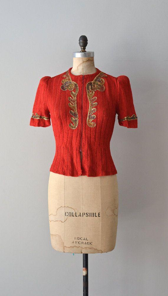 Versailles jacket blouse 1940s rayon knit blouse by DearGolden