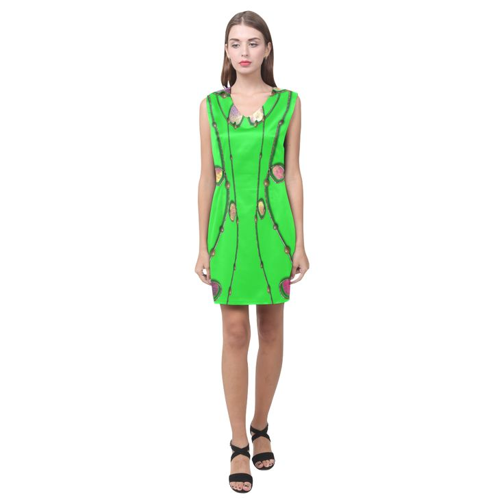 Dress  in Neon green delight-Annabellerockz Phoebe Sleeveless V-Neck Dress (Model D09)