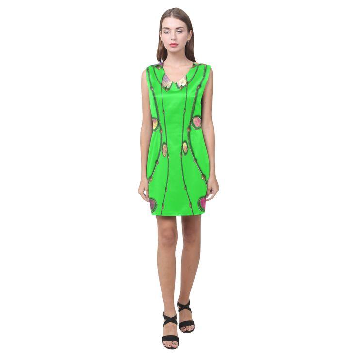 Dress  in Neon green delight-Annabellerockz Phoebe Sleeveless V-Neck Dress (Model D09)