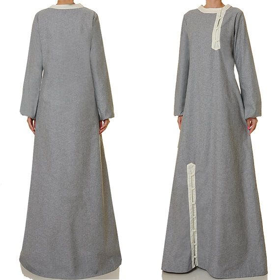 Light Grey Linen Blend Buttoned Long Sleeves by Tailored2Modesty