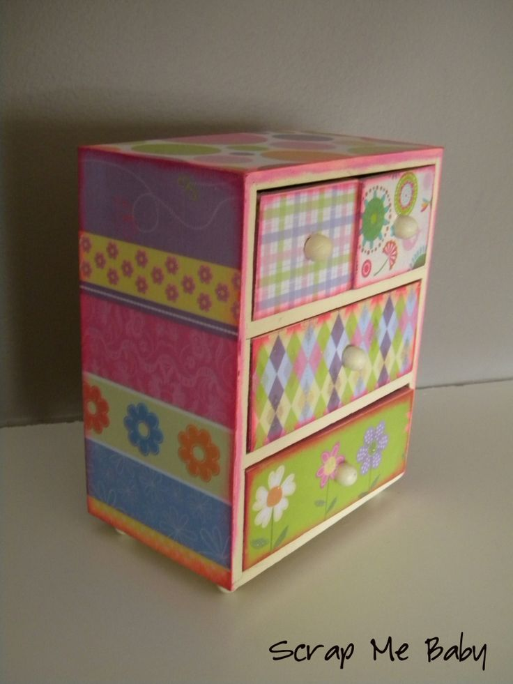 mod-podge and scrap paper for decorating or re-furbing dresser drawers, jewelerr