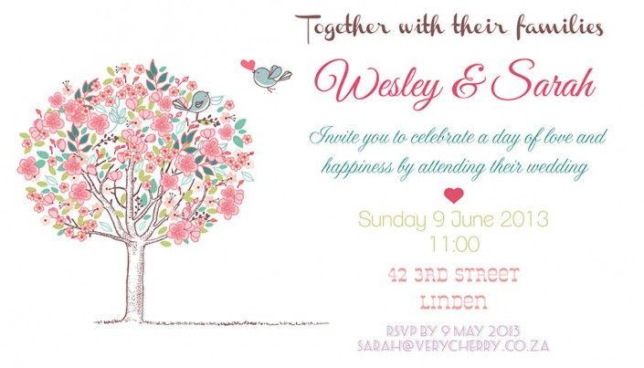 Simple wedding invitation design by Very Cherry Design Studio