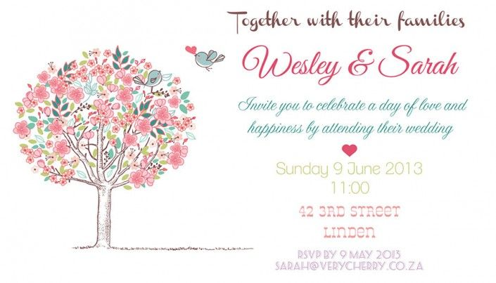 Simple wedding invitation design by Very Cherry Design Studio