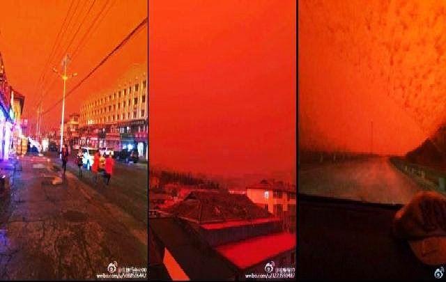 """weird red sky (1) -   """"Con la luce del Distruttore, la terra era avvolta in una luce rossastra. La terra era piatta battuta e distrutta da enormi chicchi di grandine pestato giù a tutti in piedi. Poi il grande baldacchino di polvere e nuvole, che comprendeva la Terra, avvolgendolo in pesante oscurità, è stato trafitto dalla luce rossastra, e il baldacchino trascinava giù in grandi nubifragi e infuriava tempesta-acque""""  """"Il pesce del fiume è morto....."""