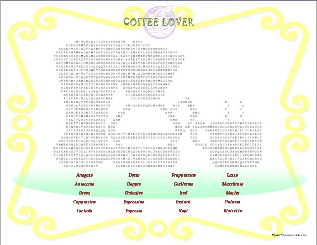 Coffee Lover Word Search Puzzle
