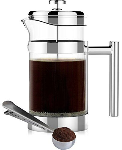 Simple Modern French Press Coffee & Tea Maker – 1 Liter – Double Filter – Plus…
