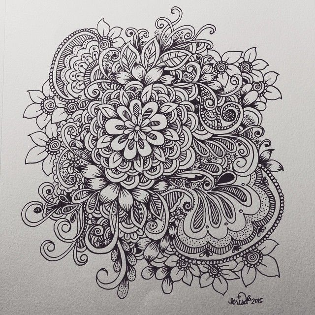 flower cluster doodle (With images) Doodle art flowers