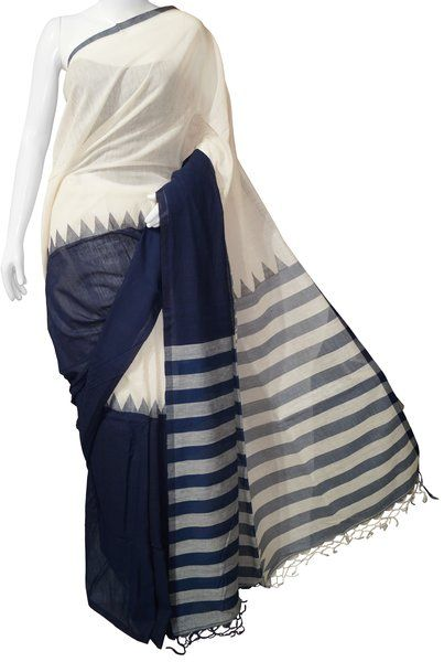 Bengal Cotton Handloom Blue & White Saree with Blouse