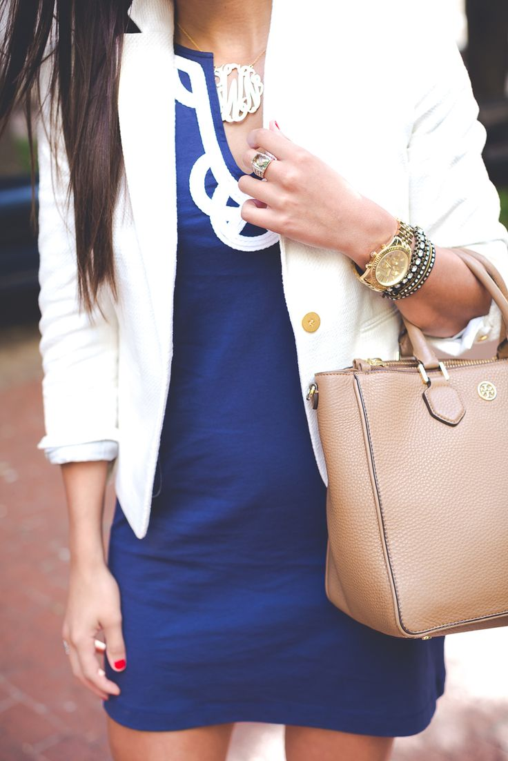 Lilly Pulitzer dress under a blazer, nude purse