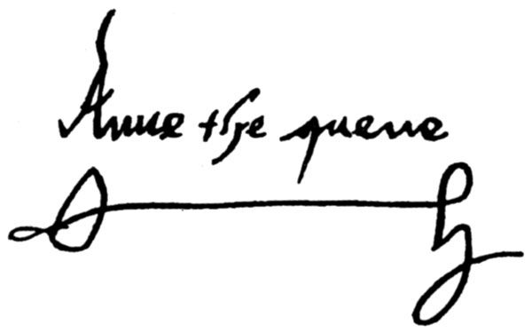 Queen Anne Boleyn's signature