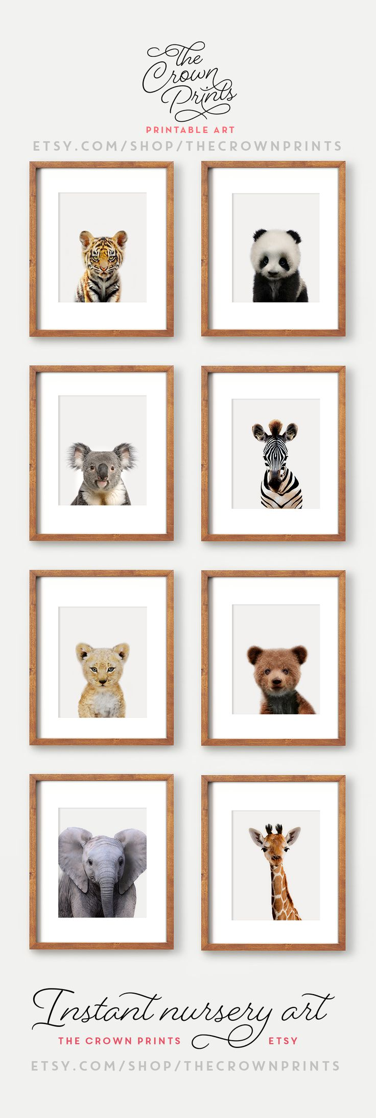 Printable nursery art - zoo animals theme, from The Crown Prints on Etsy