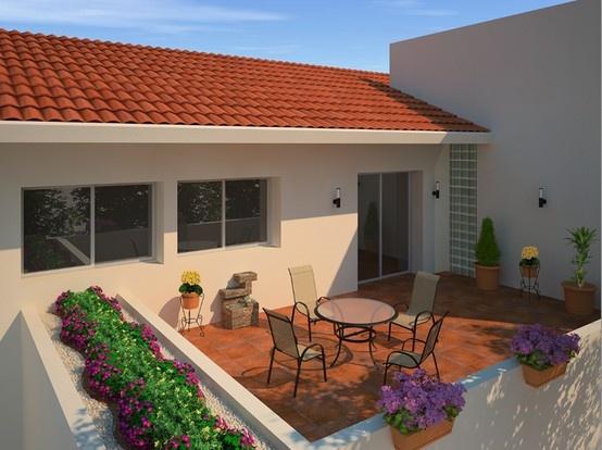 Armoniza tu ambiente contrastando tu jardín con un juego de mesa y sillas.