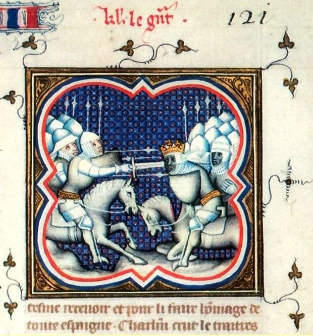 via @medievalpoc blog Raoulet d'Orléan The Song of Roland (Grandes Chroniques de France) France (c. 1375) Illumination on parchment The Battle of Roncevaux (778 AD) between Roland (left) and Marsile (right) in the Song of...