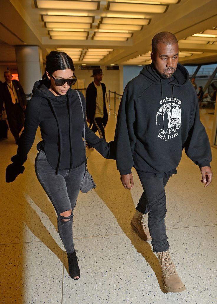 April 21, 2015 - Kim Kardashian + Kanye West at JFK Airport