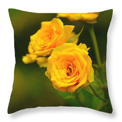 "Yellow Roses Throw Pillow 14"" x 14"""