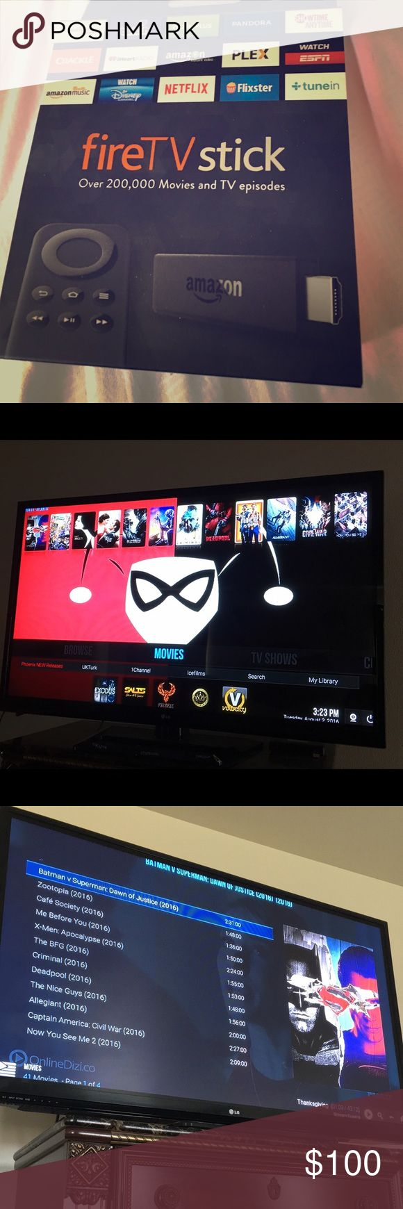 Fire stick loaded Fully loaded jail broken fire stick with a new software on it, watch 100000 plus movies including new releases, PPV, live TV, music and change up to 5 different themes! For free!!! Accessories