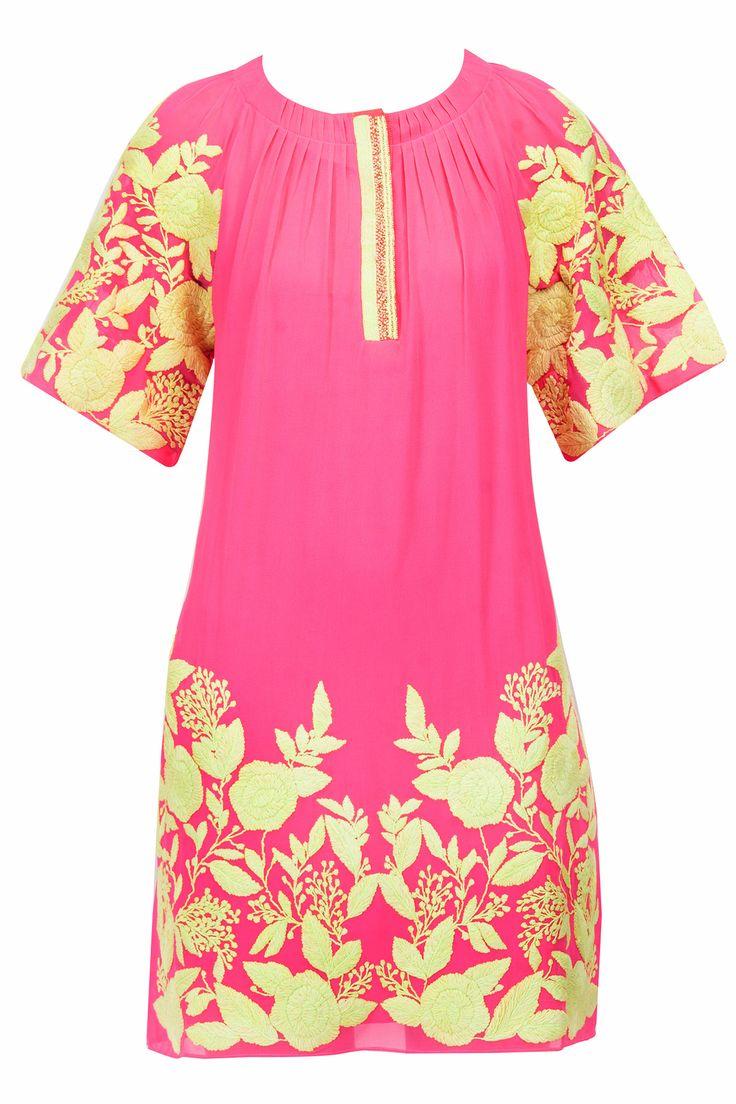 Fuschia embroidered tunicBY PANKAJ AND NIDHI. Shop now at perniaspopupshop.com #perniaspopupshop #clothes #womensfashion #love #indiandesigner #pankajandnidhi #happyshopping #sexy #chic #fabulous #PerniasPopUpShop