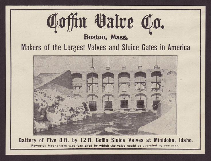 1911 Coffin Valve Co. Boston MA Sluice Gates Valves Water Industry Minidoka ID