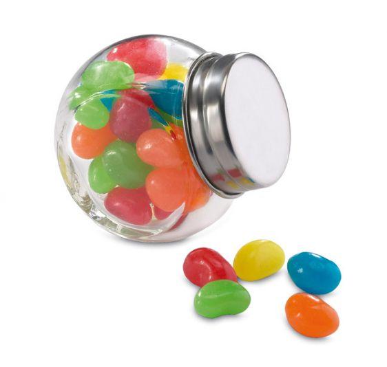 30 gr di gelatine dolci colorate contenute in un barattolo di vetro con tappo metallico personalizzabile su Ibiscus gadget