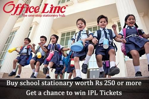 Shop for all your school stationary, before the new session starts from www.officelinc.com Shop for Rs 250 or more and stand a chance to win IPL Tickets and other exciting gifts from #LincPens Hurry!