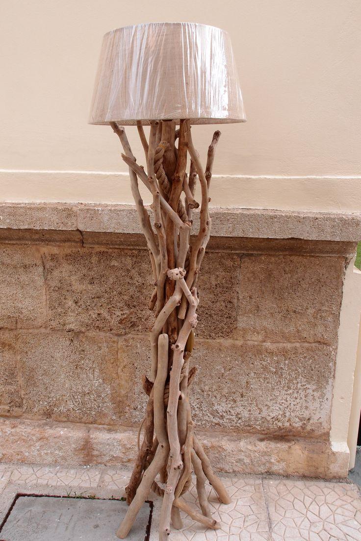 τηλ. 6976773699...επιδαπεδιο φωτιστικό από θαλασσοξυλα με ροοστάτη & καπέλο από λινάτσα.. ..…διαστ.175 cm.floor lamps by driftwood..