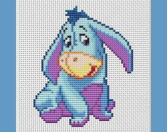 Baby Eeyore From Disney Winnie the Pooh Counted Cross Stitch Pattern in PDF for Instant Download
