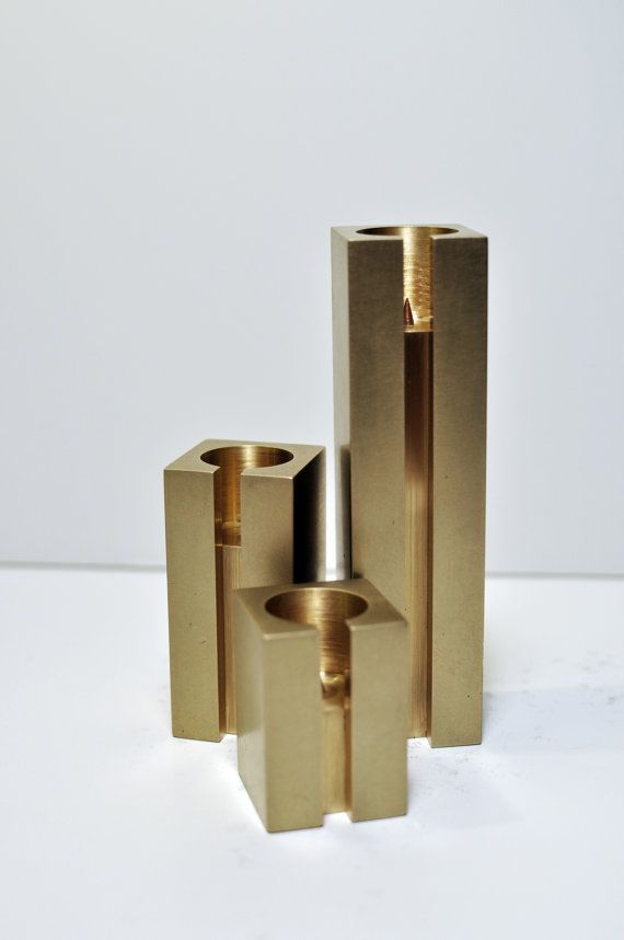 Handmade Brass Candlestick Holder Set - Raw. $175.00, via Etsy.
