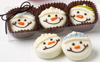 Snowman Trio - White Chocolate Covered Oreo's. Cute snowman design.