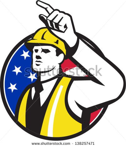 Illustration of a builder construction worker engineer foreman pointing set inside circle done in retro style. #engineer #laborday #retro #illustration