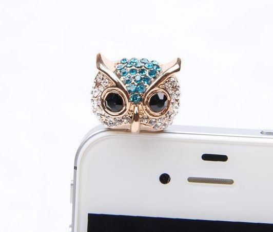 1PC Bling owls dust plug charm headphone plug   by lovelymyphone, $4.99
