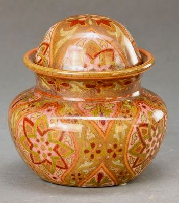 Zsolnay Pecs Hungary, around 1890 -1900, earthenware, finely painted in Mosaik- décor in brown-, green- and rose tones, groundmark, H. approx. 8.5cm 17/92