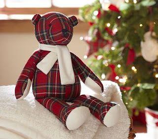A cute plaid teddy bear.