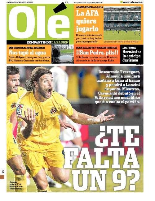 Sábado 18 de Agosto del 2012. http://www.ole.com.ar/la-tapa/