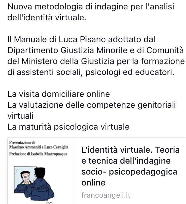 Nuova metodologia di indagine per l'analisi dell'identità virtuale.  Il Manuale di Luca Pisano adottato dal Dipartimento Giustizia Minorile e di Comunità del Ministero