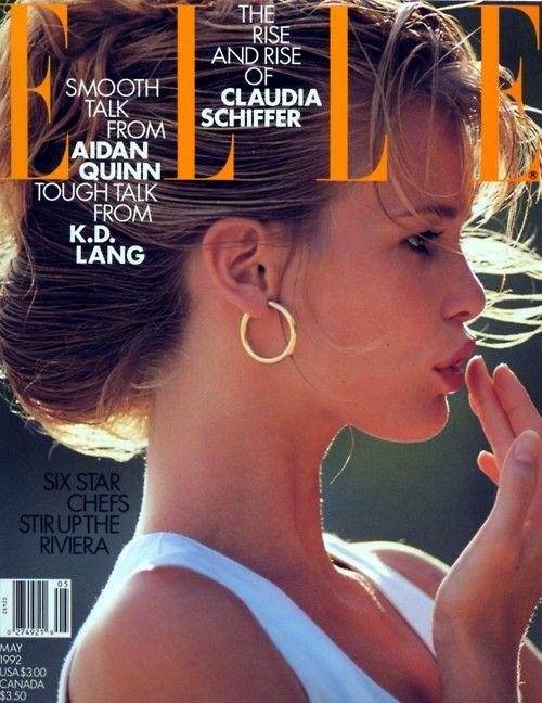 Claudia SchifferSupermodels Face, Claudia Schiffer, 1992, Classic Covers, Elle Covers, Classic Supermodels, 90S Supermodels, Magazines Covers, Supermodels Covers