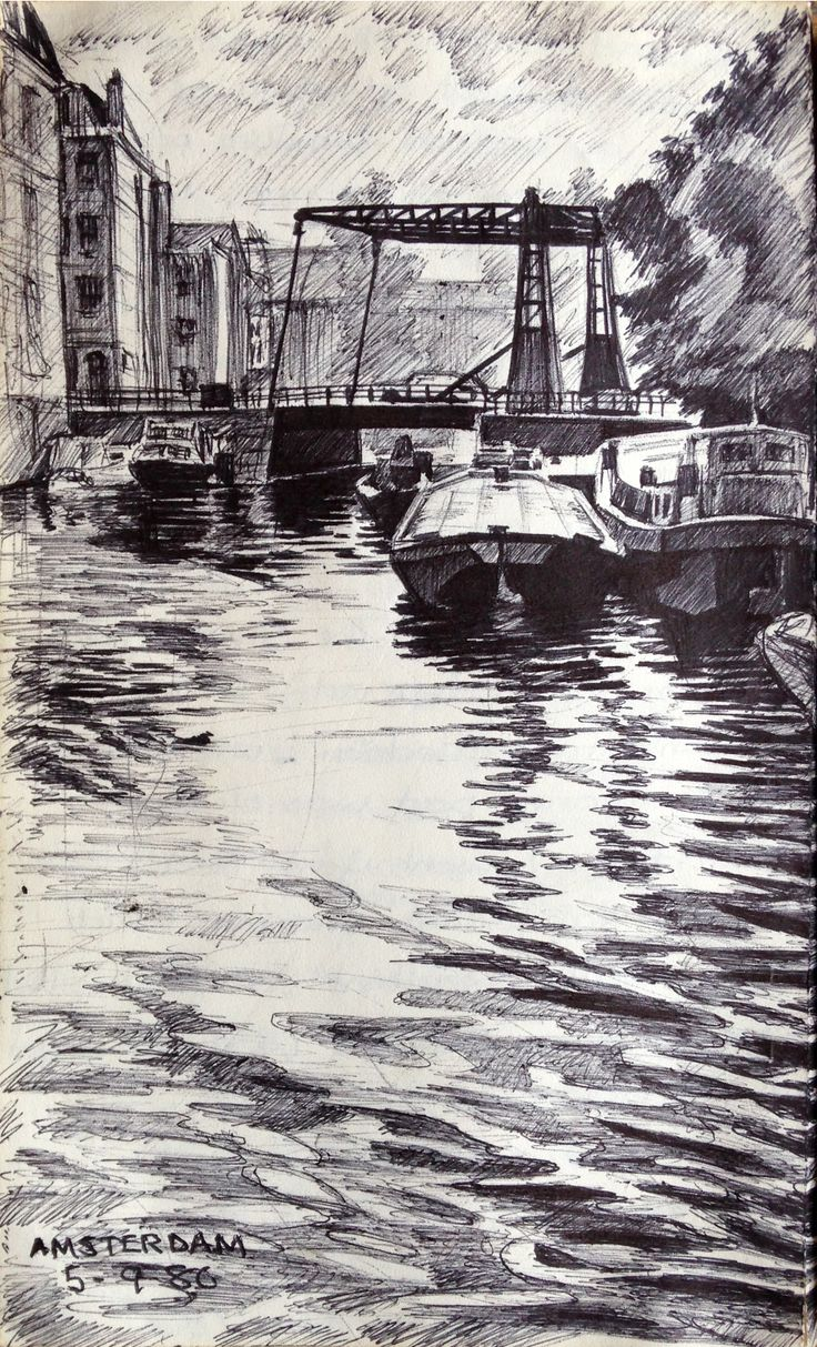 Amsterdam - Ink drawing - ©Gary Drostle