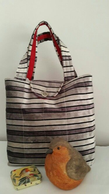 """Silver and black """"velvet"""" box bag with red lining, inner pocket and flap. Made by Vanilla Ruche"""