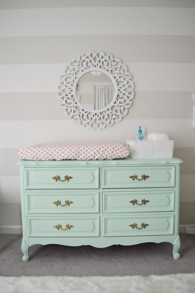 French Provincial Style Dresser Painted Mint - what a fab changing table in a Vintage Chic Nursery