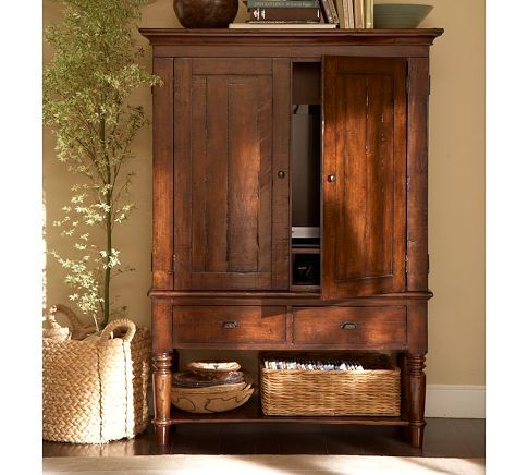 Pottery Barn Mason Media Armoire-always wanted to know what to put above armoire