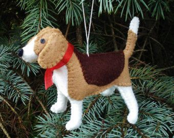 Beagle Christmas Tree Ornament, Dog Ornament, Wool Felt Beagle, Beagle Decoration, Beagle Ornament