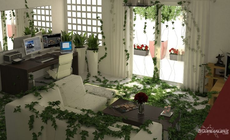 interior 3d render full of ivy