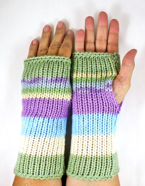 Knit Fingerless Mittens Knit Hand Warmers Knit от Nothingbutstring