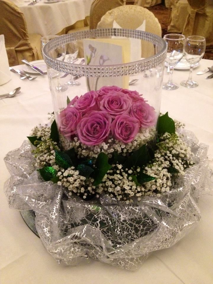Wreath with Glass Vase & Pink Roses