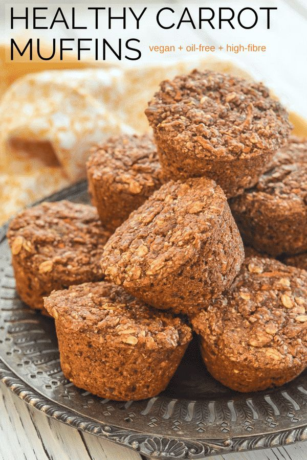 Healthy Carrot Muffins. Full of wholesome ingredients like bran, oats, wholegrain flour, carrots & sultanas plus as an added bonus they are completely oil-free.  Perfect for breakfast, snacks or lunch boxes! #healthy #vegan #muffins #carrotmuffins via @avirtualvegan