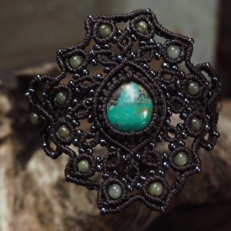 Macrame Bracelet Shamballa Freeform Turquoise Jade Stone Handmade Handwoven #Handmade #Wrap