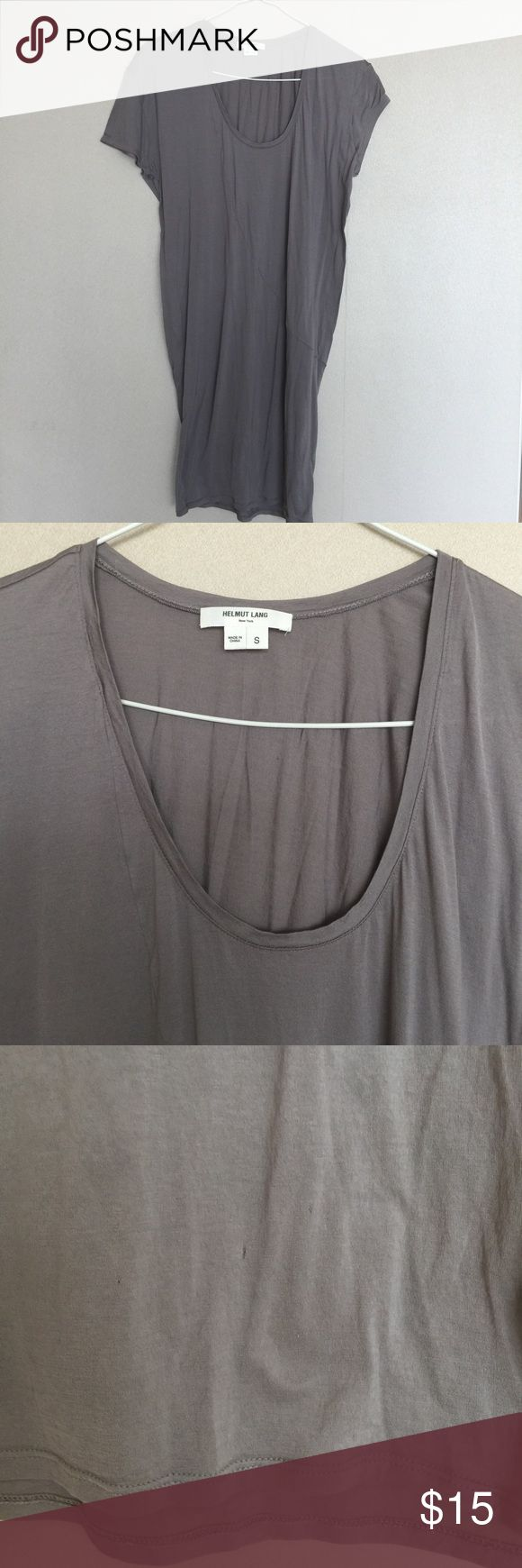 Helmut Lang T-shirt dress with slip Helmut Lang t-shirt dress in taupe/gray. Comes with white slip. Size small. There are three small snags at bottom front part of dress (see detail photo). This dress is cut slimmer at the bottom. 100% cotton. Helmut Lang Dresses Mini
