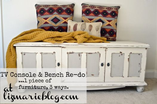 Old TV console turned into a storage bench. http://www.lizmarieblog.com/2012/11/tv-console-bench-redo/